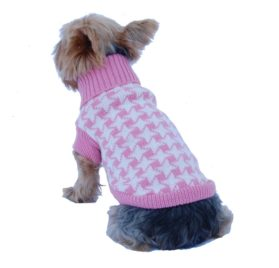 Anima Pink and White Houndstooth Print Knit Sweater, X-Small