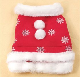 Chiqpets Red Dog Clothes with Cute Ball Snow Flower Christmas Dog Clothes Pet Apparel for Small Medium Dog Cat Chihuahua Yorkshire Poodle-1