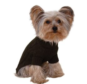 Designer Pet Clothes, Olive Green Turtleneck Dog Sweater, Classic Aran Knit