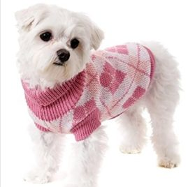 Pet Knitted Sweater Clothes Pink Square, Small-1