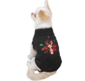 Zack & Zoey Poinsettia Pet Sweater - Black-1