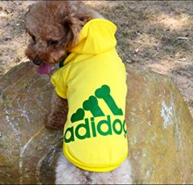 Angel Mall Adidog Hoodie Pet Clothes Dog Sweater Puppy Sweatshirt Warm Small Coat Christmas Gift 1-pc Set (Yellow)-1