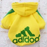 Angel Mall Adidog Hoodie Pet Clothes Dog Sweater Puppy Sweatshirt Warm Small Coat Christmas Gift 1-pc Set (Yellow)-7