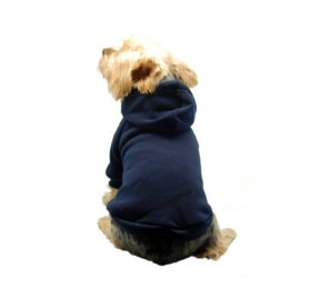Anima Navy Blue Pullover Drawstring Hoodie Sweatshirt, Large