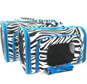 Sturdy Canvas Zebra Print Pet Carrier 2 Piece Set w/ Carry Straps for Dog or Cat Blue Trim - 1