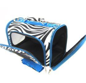 Sturdy Canvas Zebra Print Pet Carrier 2 Piece Set w/ Carry Straps for Dog or Cat Blue Trim - 2