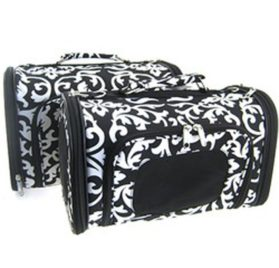 Sturdy Canvas Damask Print Pet Carrier 2 Piece Set w/ Carry Straps for Dog or Cat Black White
