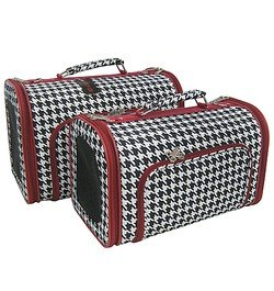 Sturdy Canvas Red Trim Houndstooth Print Pet Carrier 2 Piece Set w/ Carry Straps for Dog or Cat Alabama Bama Rolltide Roll Tide