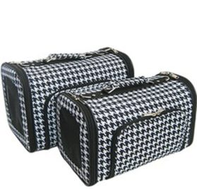 Sturdy Canvas Houndstooth Print Pet Carrier 2 Piece Set w/ Carry Straps for Dog or Cat Black White Alabama Bama Rolltide Roll Tide