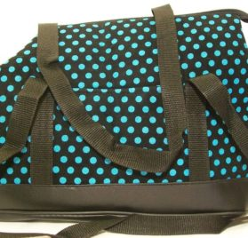 Dog Tote Carrier Purse Sling Bag - Turquiose Blue Polka dot soft sided - small, toy, teacup breeds - Chuahua Yorkie Llasa Shih Tzu Poodle Maltese Pinscher Westie Dachshund and Puppy- The Happiest Pet Is the One That Is with You! - 1