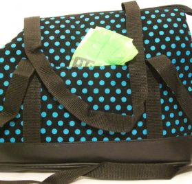 Dog Tote Carrier Purse Sling Bag - Turquiose Blue Polka dot soft sided - small, toy, teacup breeds - Chuahua Yorkie Llasa Shih Tzu Poodle Maltese Pinscher Westie Dachshund and Puppy- The Happiest Pet Is the One That Is with You! - 2