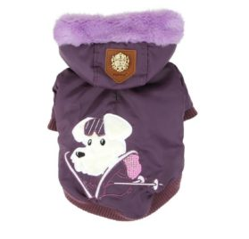 """Puppia Authentic Alpine Skiing Jacket with Fur Trimmed Hood in Rich Dark Purple in size Large (Neck 14"""", Chest 18.75"""", Back Length 15.5""""L, pets weighing 11-16Lbs.)(Recommended for small dog breeds)"""