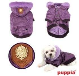 "Puppia Authentic Shiny Faux Fur Trimmed Hooded Jacket in Purple in Size Medium (Chest 16"", Neck 12"", Back Length 12, Weight 6-9 Lbs.) (Recommended for Small Dog Breeds) - 1"