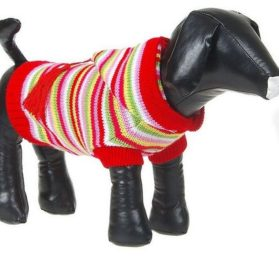 Striped Pet Dog Hoodie Sweater Pullover Red - 2