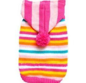 Striped Pet Dog Hoodie Sweater Pullover Rose-carmine - 1