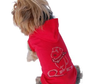 Anima Red Short Sleeve Poly Cotton Hoodie with Rhinestone Logo on Back - 1