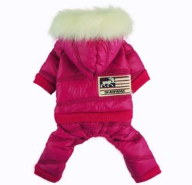 Fitwarm Fashion Faux Furred Pink Pet Hooded Clothes for Dog Coat Warm Winter Jumpsuit - 1