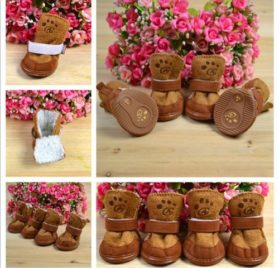 4pcs/set pet dog cat cotton shoes spring autumn winter boot pet bottes (Brown color, Size L) - 1