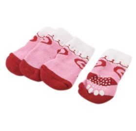 2 Pairs Pink White Heart Paw Printed Stretchy Pet Dog Yorkie Socks L - 1