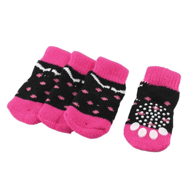 2 Pairs Fuchsia Black Paw Pattern Knitted Elastic Pet Dog Socks M - 1
