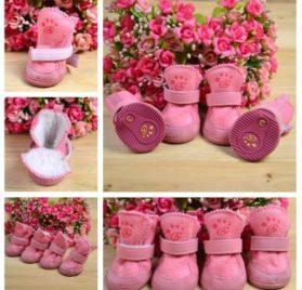 4pcs/set pet dog cat cotton shoes spring autumn winter boot pet bottes (Pink color, Size S) - 1