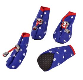 Paw Printed Drawstring Closure Dog Shoes Boot XS 2 Pairs Blue - 1