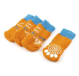 2 Pairs Letter Printed Stretchy Knitting Pet Dog Socks Orange Blue M - 1