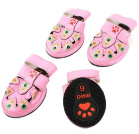 Peafowl Pattern Hook Loop Fastener Pet Dog Cat Shoes S 2 Pairs Pink - 1