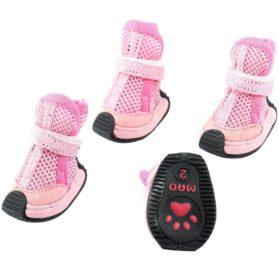 Pet Dog Doggie Detachable Closure Mesh Style Shoes XS 2 Pairs Pink - 1