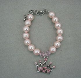 A Little Dog Company Crown Diamond Pendent Pearl Necklace