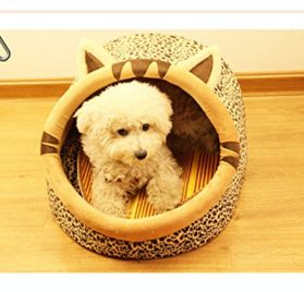 Follow518 Cute Leopard Shape Teddy Chihuahua Cat Soft Small Bed Autumn Winter Warm Pet House - 1