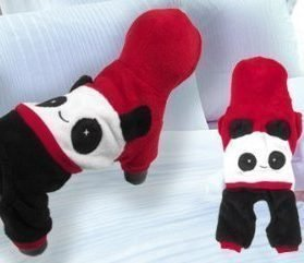 Short Sleeves Hooded Panda Shaped Chihuahua Pet Dog Cat Apparel Jumpsuit Red S-2