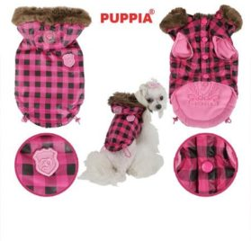 "Puppia Authentic TGIF Faux Fur Trimmed Hooded Jacket in Hot Pink Check in Size Medium (Chest 16"", Neck 12"", Back Length 12, Weight 6-9 Lbs.) (Recommended for Small Dog Breeds)"
