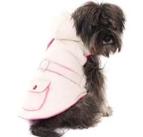 "UrbanPup Cream / Pink Quilted & Hooded Bodywarmer (X-Small - Dog Body Length: 8"" / 20cm) - 1"