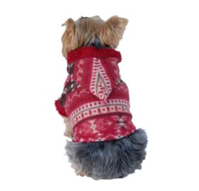 Snowflake Printed Fleece Dog and Pet Jacket with Fur Lining and Hood-1