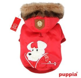 """Puppia Authentic Alpine Skiing Jacket with Fur Trimmed Hood in Bright Red in size Small (Neck 9"""", Chest 13"""",Back Length 7.5"""", pets weighing 4-7 Lbs.) (Recommended for mini dog breeds) - 1"""