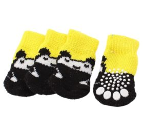 2 Pairs Bear Print Elastic Cuff Knitted Pet Dog Socks Yellow Black M