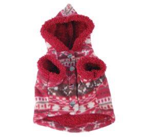 Snowflake Printed Fleece Dog and Pet Jacket with Fur Lining and Hood-2