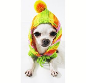 Rasta Green Orange Colorful Dog Hoodie Pet Clothes Cotton Unique Handmade Crochet Cute Puppy Clothing Chihuahua Sweater Dk971 By Myknitt - Free Shipping-1