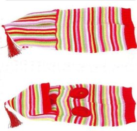 Striped Pet Dog Hoodie Sweater Pullover Red - 1