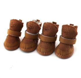 Generic Brown 4 pcs Per Set Pet Dog Shoes Warm Winter Cozy Cute Chihuahua Boots Puppy Shoes Boot Slipper For Small Dog Size 4# - 1