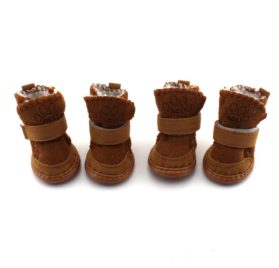 Generic Brown Rubber 1 set (4 PCS) Pet Shoes Warm Winter Cozy Pet Dog Chihuahua Boots Puppy Boot Cotton Blends For Small Dog Size 3# Paw Protectors