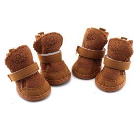 Generic Brown 4 pcs Per Set Pet Dog Shoes Warm Winter Cozy Cute Chihuahua Boots Puppy Shoes Boot Slipper For Small Dog Size 4# - 2