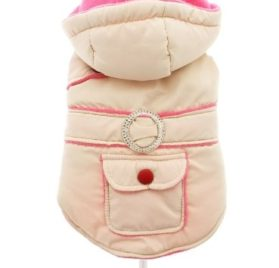 "UrbanPup Cream / Pink Quilted & Hooded Bodywarmer (Small - Dog Body Length: 10"" / 25cm) - 2"