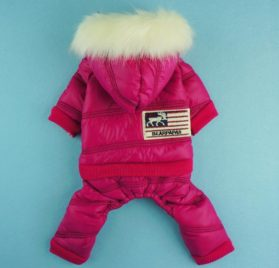 Fitwarm Fashion Faux Furred Pink Pet Hooded Clothes for Dog Coat Warm Winter Jumpsuit - 2