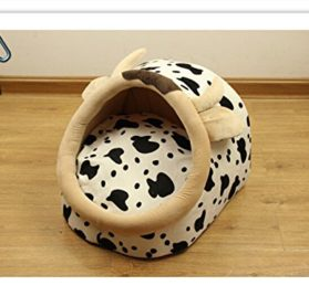 Follow518 Cute Dairy Cow Shape Teddy Chihuahua Cat Soft Small Bed Autumn Winter Warm Pet House - 3