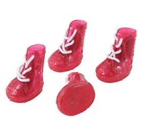 Water & Wood 2 Pairs Clear Red Hole Design Pet Dog Chihuahua Booties Shoes XS