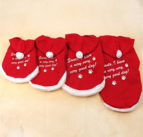 Chiqpets Christmas Dog Clothes Red Hoodies Sport Clothes Pet Clothing Santa Clothes Small Medium Dog Cat Chihuahua Yorkshire-1
