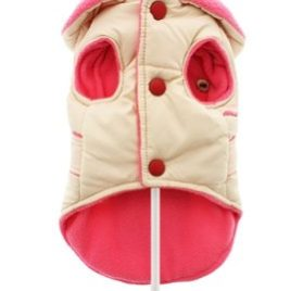 "UrbanPup Cream / Pink Quilted & Hooded Bodywarmer (X-Small - Dog Body Length: 8"" / 20cm) - 3"