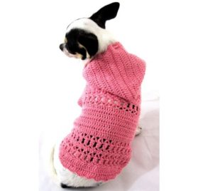 Girly Pet Hoodie Sweater Cotton Adorable Handmade Crocheted Myknitt Dk899 Free Shipping-2